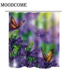 flower purple shower curtain lavender waterproof fabric polyester bathroom curtain erfly shower curtains