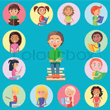 small icons with read children on blue background boy with gles holding open book and sitting on pile of literature vector ilration