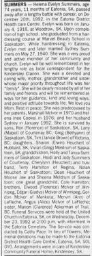 Obituary for Helena Evelyn SUMMERS, 1918-1992 (Aged 74) - Newspapers.com