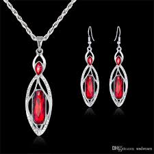 2019 blue red crystal drop necklace earrings jewelry sets silver chain necklaces pendants bride bridesmaid wedding jewelry gift drop ship 162184 from