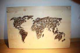 Picture of String and Nail Art `World Map