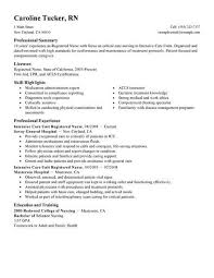 Icu Rn Job Description Resume