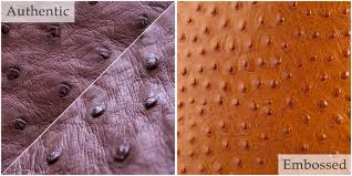 genuine ostrich leather is a leather with a very specific texture the ps found on the ostrich skin also referred to as crowns are follicles out of