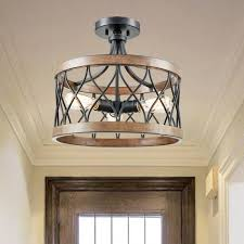 retro drum wood metal semi flush mount ceiling light 3 lights skip to the end of the images gallery