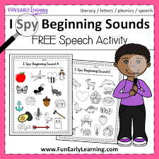 Free phonics worksheets for beginners! I Spy Beginning Sounds Activity Free Printable For Speech And Apraxia
