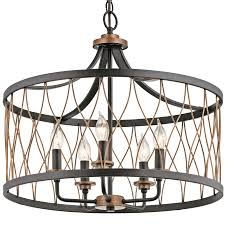 kichler brookglen black with gold tone french country cottage cage pendant