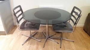 vintage retro round dining set round glass table 2 revolving chairs grey