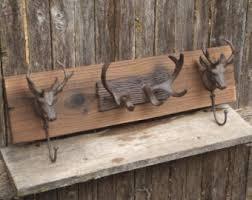 Cabin Coat Rack Rustic Cast Iron Stag heads and Deer Antler coat rack lodge cabin 23