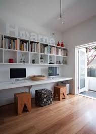 wall shelves office. i like the cube shelves and long desk wall office e