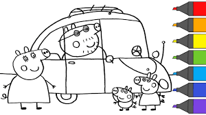 Recycled toilet paper rolls colored paper sheets printed images of peppa. Peppa Pig George Mummy Pig Daddy Pig Ride A Car Coloring Page Camping Artsy Kids Youtube