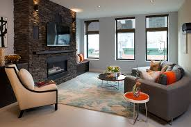 astounding contemporary stone fireplace mantel kits with relaxing sofa plus carpet