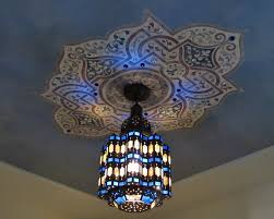moroccan style lighting fixtures. colorful blue moroccan style light fixture and painted ceiling medallion stencil custom stencils for decorative lighting fixtures
