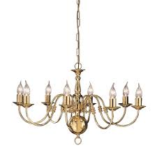 delft 8 light polished brass flemish chandelier pe7918
