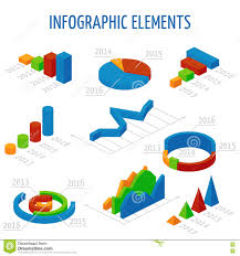 Isometric 3d Vector Charts Set For Infographics Stock Vector