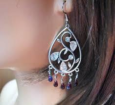 teardrop chandelier earrings in burdy and silver images of