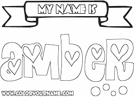 Small Picture Printable Name Coloring Pages Amber Bebo Pandco