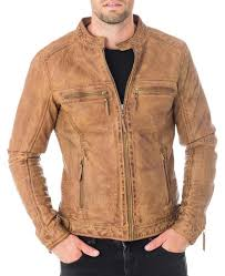 men s snap tab collar casual waxed tan brown leather jacket