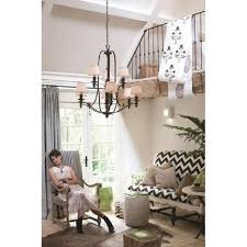 dunhill large 2 tier bronze chandelier with off white pleated shades