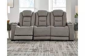 the man den gray power reclining sofa