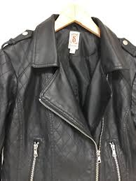 decree black faux leather organic biker jacket size large juniors fitted