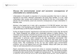 impacts of urbanisation in mumbai a level geography marked by  document image preview