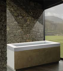 maddux drop in freestanding bath tub with built in pedestal slotted overflow