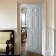 six panel grained internal door