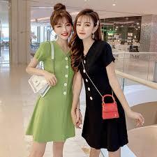 2019 Korean <b>Summer New</b> V-Neck Women's <b>Solid Color</b> Short ...