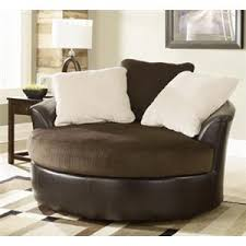 $499 95 Victory Chocolate Oversized Round Swivel Chair by