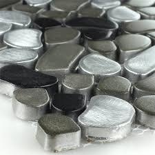 Design Edelstahl Kiesel Mosaik Black Silver - LZ69194m