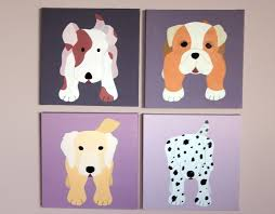 dog nursery art paintings dog paintings custom baby puppy pictures on canvas for child