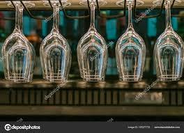 glasses wine hanging bar rack restaurant stock photo