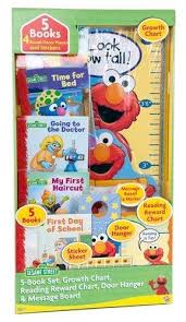 Library Decoration Chart 9781605535425 Sesame Street 5 Book Library Growth Chart