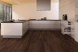 dark wood floor. Wonderful Wood White Gloss Acrylic Kitchen Cabinets With Subway Dark Wood Floor Also Calm  Wall Painted In Midcentury Interior E