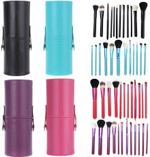 12pcs mac makeup brush set with cup holder case