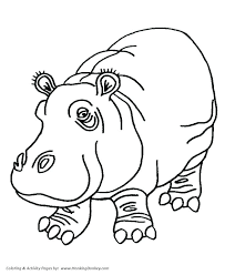 Cute Hippo Coloring Pages Page Drawing For Kids Co Auchmar