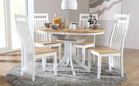 hudson white two tone round extending dining room table and 4 in round dining tables and