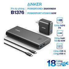 Bộ Pin Sạc Dự Phòng Anker PowerCore+ 26800mAh Hỗ Trợ Power Delivery PD 45W  A1376 Kèm Adapter Sạc 1 Cổng USB Type-C 60W Anker Powerport Atom III 60W -  B1376 - Hàng