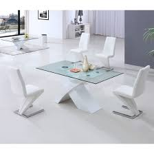 x glass dining table in white high gloss base and 6 z incredible white glass dining