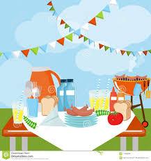 Picnic Template Picnic Party Celebration Scene Stock Illustration Illustration Of