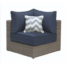 home decorators collection naples grey all weather wicker corner outdoor sectional chair with hinged cushions in navy frs50627l h the home depot