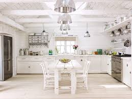 united kingdom white washed wood kitchen farmhouse with wall cabinets fireclay sinks white beams
