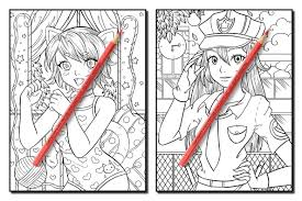 Jual Kawaii Girls An Adult Coloring Book With Adorable Anime