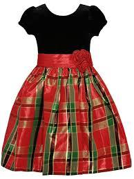 Bonnie Jean Big Girls Black Velvet Red Plaid Short Sleeve Christmas Dress 7 16