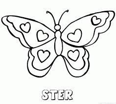 Ster Vlinder Hartjes Naam Kleurplaat