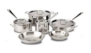 tri ply cookware. Brilliant Cookware AllClad 401488R Stainless Steel TriPly Bonded Dishwasher Safe Cookware  Set 10 Throughout Tri Ply T