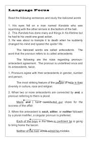 Pronoun Antecedent Agreement Worksheets Pronoun Antecedent Agreement Worksheet With Answers Verb