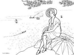 船を見る海辺の女性の塗り絵の下絵画像