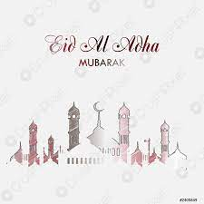 Eid al adha Grußkarte mit handgezeichnetem Moscheevektor -  Stock-Vektorgrafi