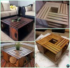 pallet crate furniture. DIY Wine Wood Crate Coffee Table Free Plans - Four-Crate-Coffee On Wheel #Furniture | Home Pinterest Crates, Crates And Woods Pallet Furniture P